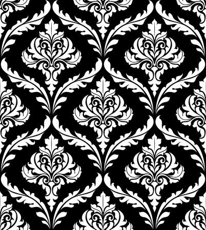Schwere Arabeske-Design in Schwarz und Weiß mit einem Wiederholungs foliate Motiv in eine nahtlose Muster für Tapeten oder Damatextil