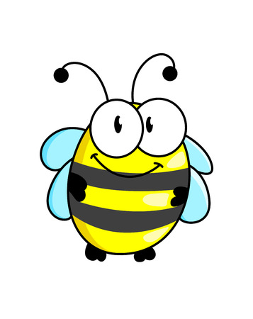 stinger: Cartoon cute striped little bumble bee or honey bee with a happy smile isolated on white, vector illustration Illustration