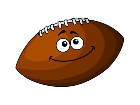 pelota rugby: Vector de la historieta de un balón de fútbol feliz de cuero marrón o una pelota de rugby, aislado en blanco