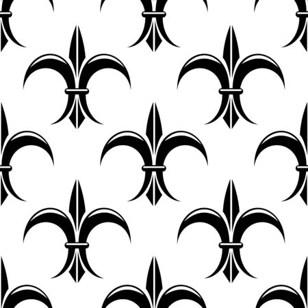 orleans: Stylized black and white design in a seamless pattern suitable for fabric, wallpaper or heraldry. Vector illustration