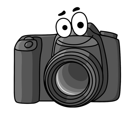 Cartoon vector illustration of a little black digital camera with a smiling face isolated on white Çizim