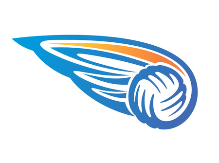 beach game: Cartoon vector illustration on white of volleyball ball with wings in blue and orange Illustration