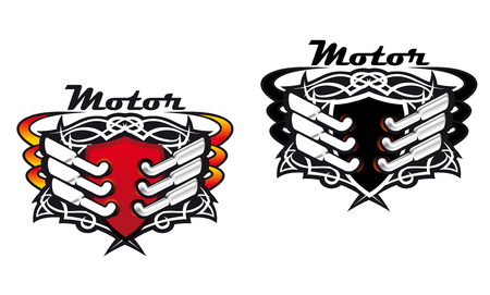 Motor sports icons incorporating silencers and exhaust pipes in red hot colours and in black and white, vector illustrations