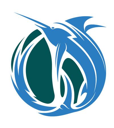 pez vela: Dibujos animados ilustración vectorial de un icono de la pesca con el marlin o saltando peces espada en el océano