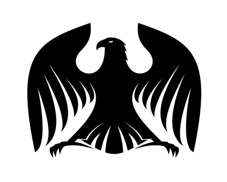 outspread: Stylized powerful black eagle silhouette with outspread wings and claws and his head turned sideways for heraldry design