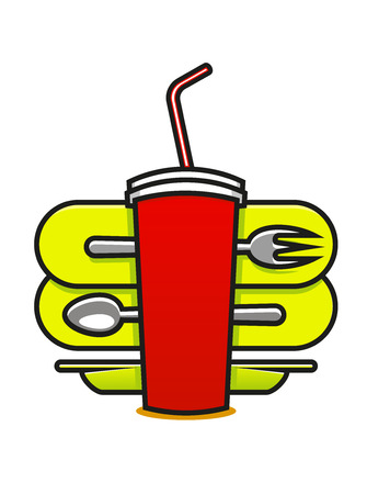 polystyrene: Cartoon vector illustration on white of a fast food or takeaway icon with a soda in a polystyrene mug with a straw and a spoon, plate and fork behind