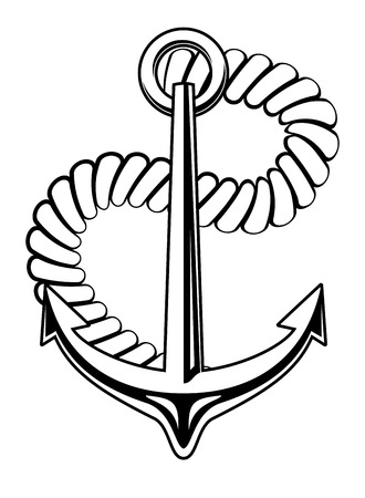 flukes: Marine nautical anchor with a coiled rope and sharp flukes on white. Black and white vector illustration Illustration
