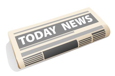 artikelen: Pictogram van een gevouwen krant presentatie van het nieuws van de dag, met artikelen, nieuws en foto's, op een witte achtergrond