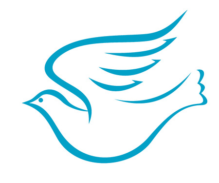 Vector doodle sketch of a graceful flying dove or pigeon of peace in profile with outstretched wings, blue on white