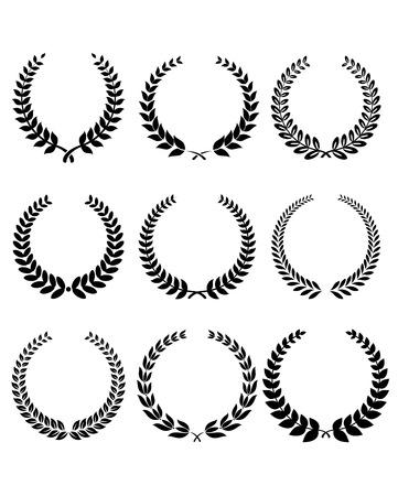 award winning: Laurel wreathe set in black for heraldry design. Vector illustration Illustration