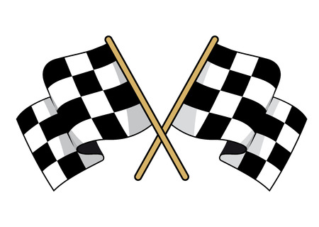Crossed black and white checkered flags with waving fabric conceptual of motor sports, vector illustration on white Illustration