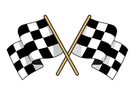 Gekruiste zwart-wit geblokte vlaggen met wuivende stof conceptuele van de motorsport, vector illustratie op wit