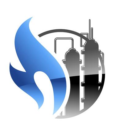 전력 및 에너지 개념의 산업 공장에서 불타는 푸른 불꽃과 탱크와 석유 화학 및 가스 업계의 아이콘