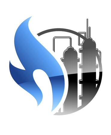Petrochemical and gas industry icon with a burning blue flame and tanks at industrial plant in a power and energy concept