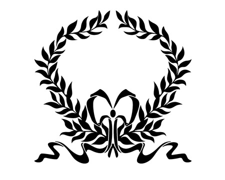enclosing: Black and white design element of foliate laurel wreath with a decorative bow enclosing white copyspace Illustration