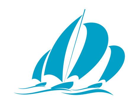 Doodle szkic oceanu żeglarstwa w żagle jacht z kilku wyścigów na powierzchni wody na niebiesko na białym