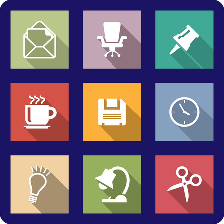 thumb tack: Office icons or buttons on coloured backgrounds depicting mail, thumb tack, coffee, clock, disk, scissors, lightbulb, lamp and a swivel chair