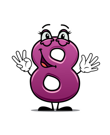 lopsided: Adorable happy number 8 with a lopsided smile waving its hands suitable for a childs birthday celebration. Cartoon vector illustration on white
