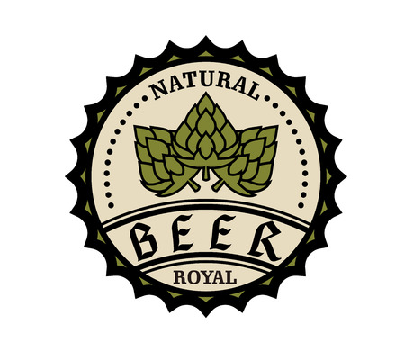 Circular natural royal beer icon or bottle cap design with text and hops, vector illustration on white Vector