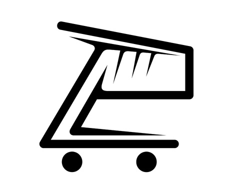 Black and white vector doodle sketch of a stylized shopping cart conceptual of retail , shopping and sales Vector