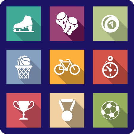 sporting: Colourful collection of flat sporting icons on different coloured backgrounds representing ice skates,boxing, bowls, basketball, cycling, racing, soccer, a trophy and a medal Illustration
