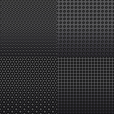 composite material: Four different repeat seamless carbon patterns in dark grey