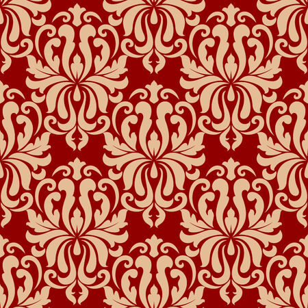 Ornate seamless arabesque repeat pattern on red background with densely packed floral  Иллюстрация