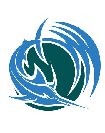 pez espada: Saltando de pez espada o marlin icono Vectores