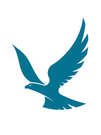 Gracieuze vliegende adelaar die hoog in de hemel met uitgespreide vleugels