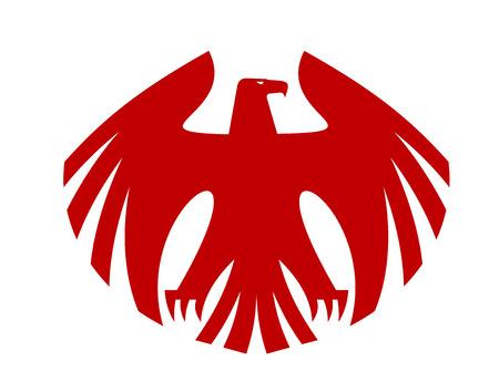 hawk: Fierce red eagle heraldic silhouette