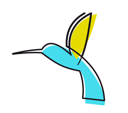 Colourful cartoon hummingbird  Vector