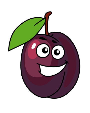 berry fruit: Juicy purple cartoon plum with a happy smile and single green leaf