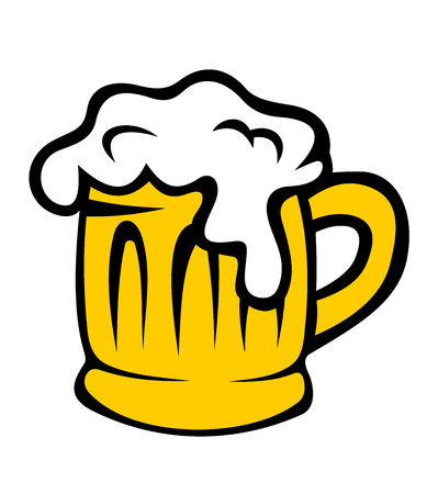 tankard: Cartoon glass tankard of golden frothy beer