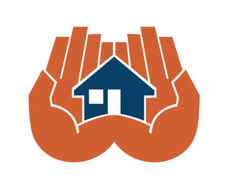 Two hands cupping a house protecting and sheltering it from risk and damage