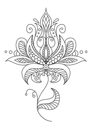 Bastante delicado motivo floral adornado de la vendimia en un contorno caligráfico blanco y negro Foto de archivo - 26154191