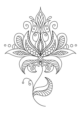 Pretty dainty ornate vintage floral motif in a black and white calligraphic outline Imagens - 26154191