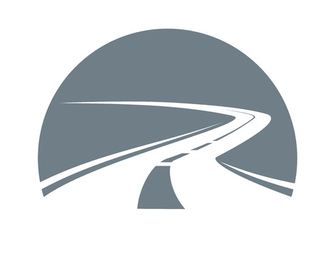 highways: Road receding into the distance winding away to the point of infinity, grey and white vector icon