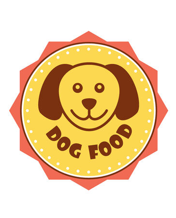 friend nobody: Dog Food label with the head of a cute smiling puppy in the centre of a yellow circle with a border, on white