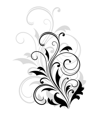 Défilement Dainty élément floral noir et blanc Banque d'images - 26154591