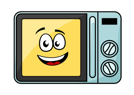 Cute cartoon microwave oven with a cheerful yellow smiling face behind the glass door, Vector