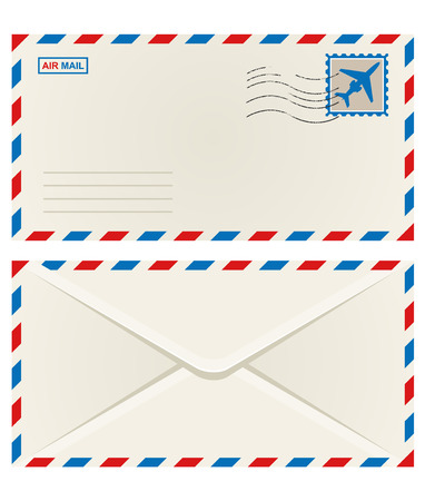 air mail: Front and back of an unaddressed airmail envelope