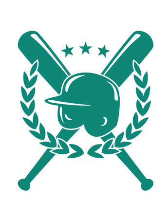 Baseball championship emblem in green and white with a helmet over crossed bats with a laurel wreath and three stars in silhouette Vector