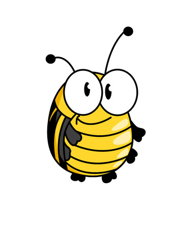 Happy smiling fat little yellow bumble bee with large googly eyes  Vector