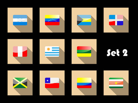 country flags: International country flags set on flat icons with Uruguay, Peru, Chile, Venezuela, Colombia, Jamaica, Dominican Republic, Honduras, Bahamas and Suriname