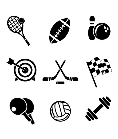 Black and white sporting icons depicting tennis, football, bowls, archery, hockey, motor racing, weight lifting, table tennis,rugby and volleyball Vector
