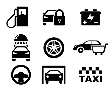 Black and white car service  icons depicting a fuel pump, security, battery, car wash, tyre, purchase, steering wheel , garage and taxi Vector