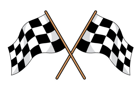 two crossed checkered flags: Two crossed black and white checkered flags used in motor sport to signal in the winner and all finishers at a race