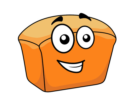 freshly: Loaf of freshly baked crusty white bread with a happy cartoon face Illustration
