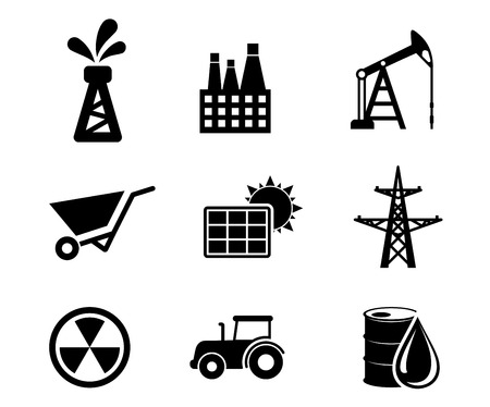 derrick: Set of black and white industrial icons depicting an oil well, industry, mining, solar panel, electricity pylon, nuclear energy, tractor and oil