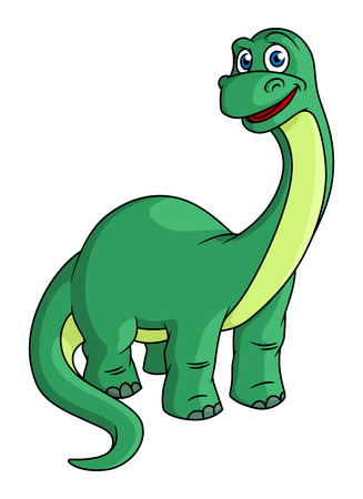 Adorable green cartoon dinosaur mascot with a long neck and tail, isolated on white